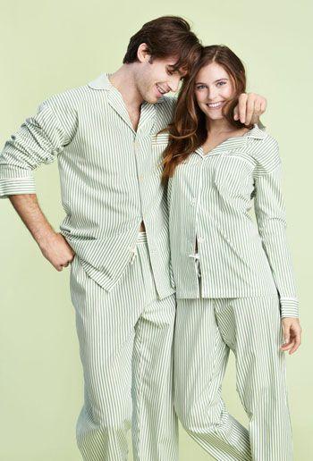 Green Pinstripe Poplin Pajama Set Bedhead