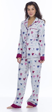 "Women's ""Fancy Coffee"" Classic Pajama Set by Munki Munki"