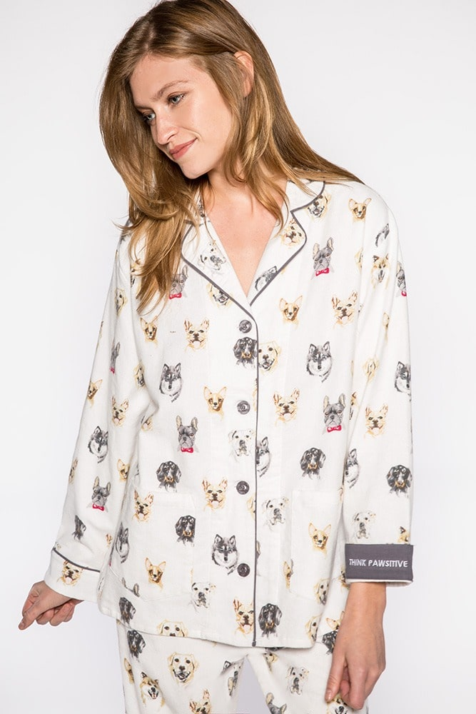 Dog Pattern Flannel Pajamas