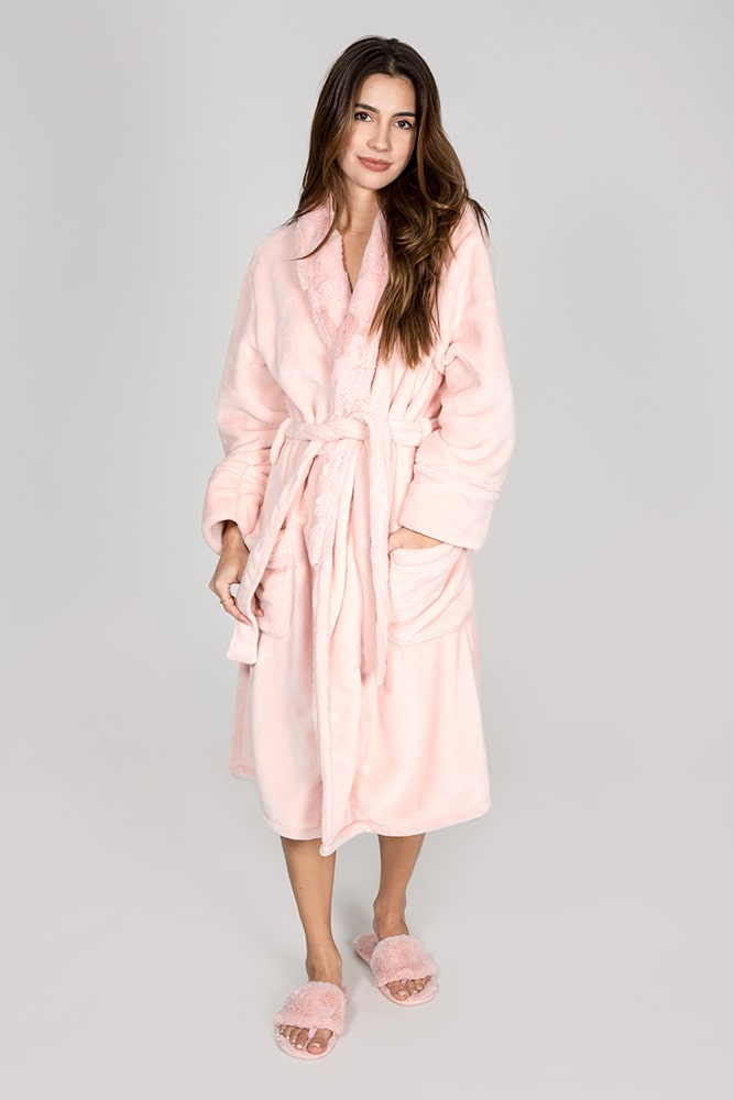 Plush bathrobe in light pink / blush color from PJ Salvage