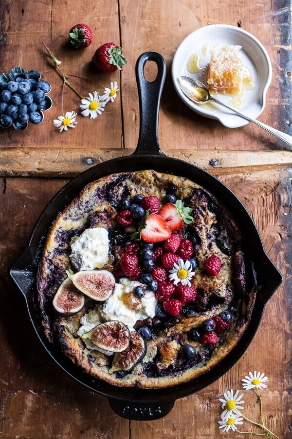 Blueberry Chamomile Dutch Baby from Half Baked Harvest