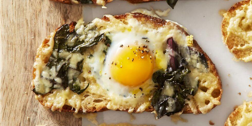 Chard and Gruyere Eggs in the Hole from Good Housekeeping