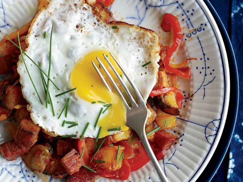 Corned Beef Hash with Fried Eggs from Food & Wine