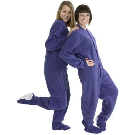 6b417ad25ef2 Big Feet Pajamas Adult Purple Fleece One Piece Footy