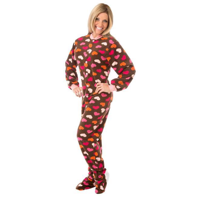 0161e670f1 Big Feet Pajamas Adult Chocolate Hearts Fleece One Piece Footy. Double tap  to zoom