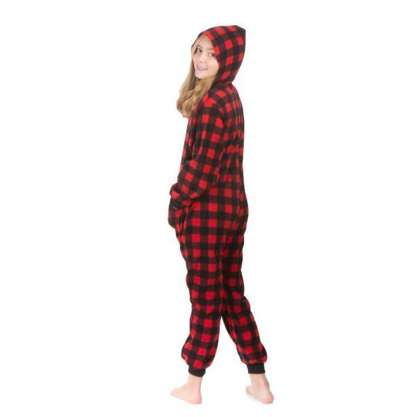 1d1d2474c0d Big Feet Pajamas Kids Red Buffalo Plaid Hooded Fleece Onesie