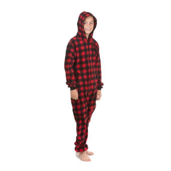 Big Feet Pajamas Kids Red Buffalo Plaid Hooded Fleece Onesie