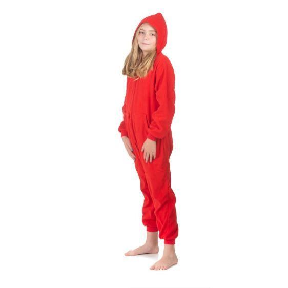 Big Feet Pajamas Kids Red Fleece Hooded Onesie 2d2e40363