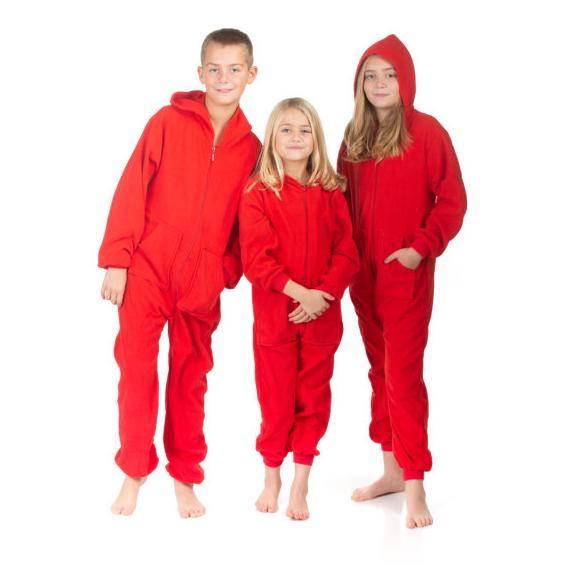 Big Feet Pajamas Kids Red Fleece Hooded Onesie. Double tap to zoom 0c98ec6f2