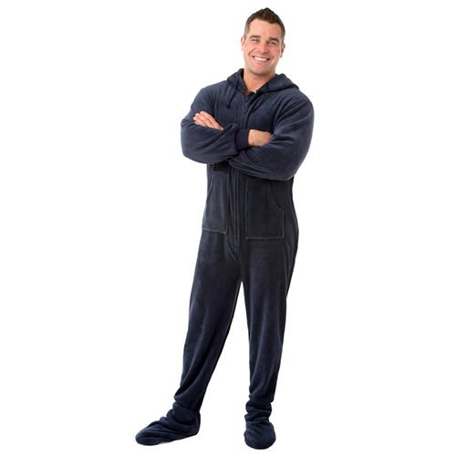 5e0ef7e90900 Big Feet Pajamas Adult Navy Plush Hooded One Piece Footy