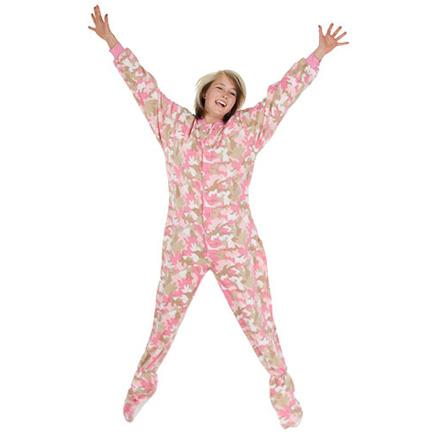 bdb4775b30 Big Feet Pajamas Adult Pink Camouflage Fleece One Piece Footy