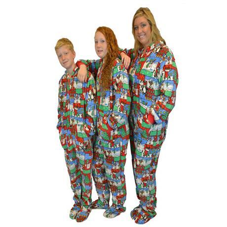 big feet pajamas adult christmas fleece one piece hooded footy
