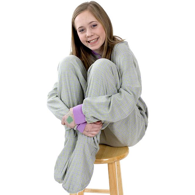 Big Feet Pajamas Adult Green and Lavender Plaid Flannel One Piece ...