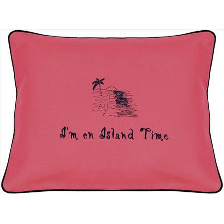 """I'm on Island Time"" Ruby Red Embroidered Gift Pillow"
