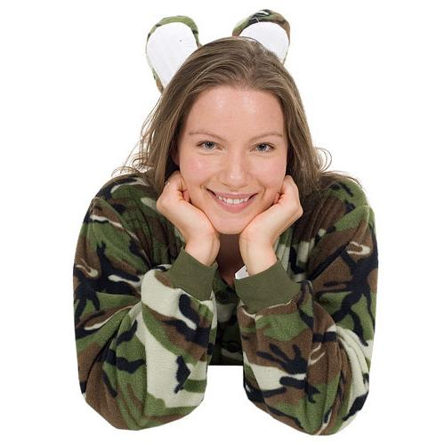 d1b60134a Big Feet Pajamas Adult Green Camouflage Fleece One Piece Footy