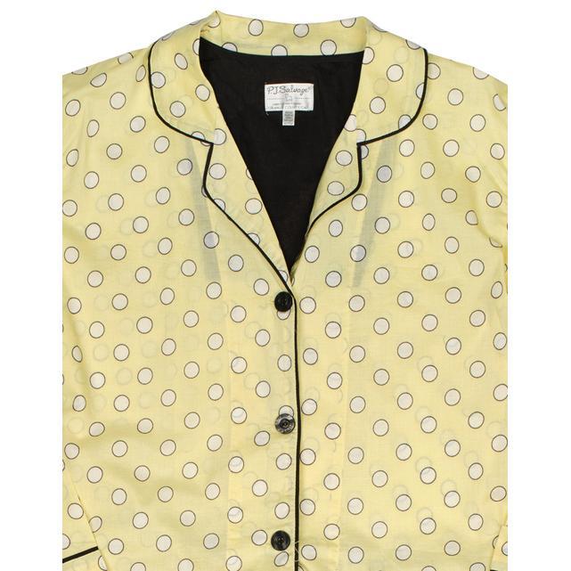 "PJ Salvage Women's ""Dots"" Cotton Pajama Set in Lemon"