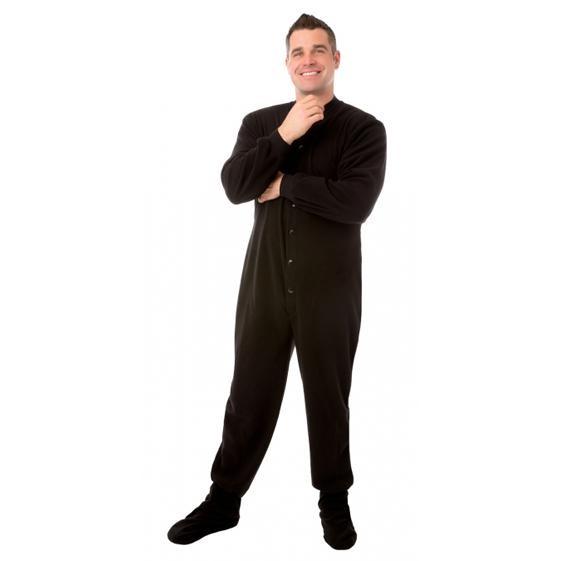 a8ed959530 Big Feet Pajamas Adult Black Fleece One Piece Footy