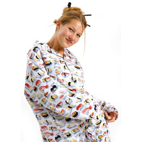 "14The Cat's Pajamas Women's White ""Sushi"" Pajama Set"