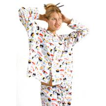 "The Cat's Pajamas Women's White ""Sushi"" Classic Poplin Pajama Set"