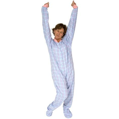 28125c7317 Big Feet Pajamas Adult Pink and Blue Plaid One Piece Footy