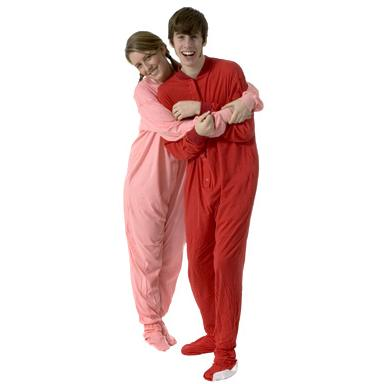 Big Feet Pajamas Adult Red Jersey Knit One Piece Footy