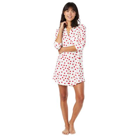 The Cat s Pajamas Women s Red Sprinkle Dots Pima Knit Classic Nightshirt.  Double tap to zoom 386582837