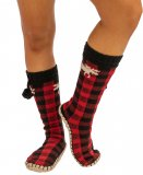 Lazy One Moose Plaid MukLuk Slipper Sock