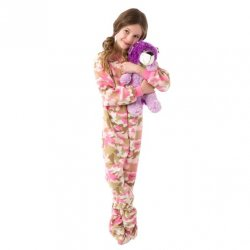 Kids Big Feet Pajamas Pink Camouflage Fleece One Piece Footy