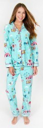 "PJ Salvage Women's Fantastic Flannels ""Circus"" Pajama Set in Aqua"