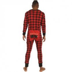 "Lazy One Adult Unisex Red Plaid ""Bear Cheeks"" FlapJack"