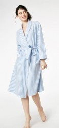 "Bedhead Women's ""Blue 3D"" Striped Flannel Knee Length Robe"