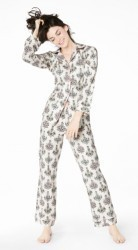 "Bedhead Women's ""Chandelier"" Damask Flannel Classic Pajama Set"
