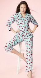"Bedhead Women's ""Cherry Hearts"" Classic Stretch Pajama Set"