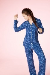 Bedhead Women's Demi Dot Classic Stretch Pajama Set in Navy