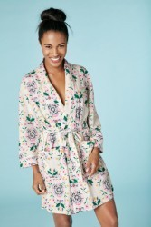 "Bedhead Women's ""Folk Floral"" Stretch Short Robe"