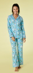 Bedhead Women's Blue Ladybug Floral Classic Stretch Pajama Set