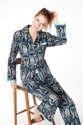 "Bedhead Women's Noir ""Little India"" Classic Sateen With Ribbon Trim Pajama Set"