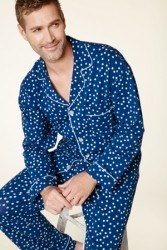 Bedhead Men's Demi Dot Classic Stretch Pajama Set in Navy