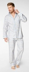 Bedhead Men's Denim Gingham Classic Cotton Pajama Set