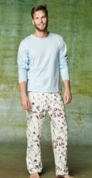 "Bedhead Men's ""Ski Village"" Classic Flannel Pant with Solid Tee Shirt"