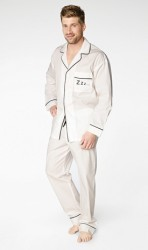 "Bedhead Men's ""Zzz"" Embroidered Cotton Classic Pajama Set"