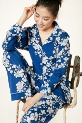 "Bedhead Women's ""Navy Shadow Blossom"" Classic Stretch Pajama Set"