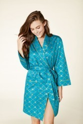 Bedhead Women's Peacock Queen Bee Classic Sateen Short Robe