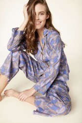 "Bedhead Women's Periwinkle ""Pashmina Paisley"" Classic Voile Pajama Set with Ruffle"