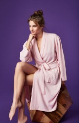 Bedhead Women's Heathered Light Pink Cashmere Robe