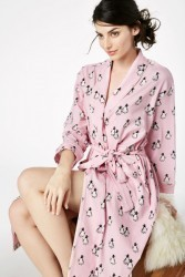 "Bedhead Women's ""Pink Penguin on Parade"" Stretch Knee Length Robe"