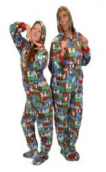 "Big Feet Pajamas Adult ""Christmas"" Fleece One Piece Hooded Footy"