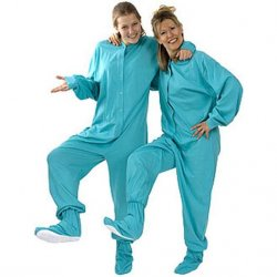 Big Feet Pajamas Adult Aqua Green Jersey Knit One Piece Footy
