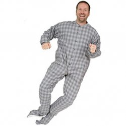 Big Feet Pajamas Adult Gray Plaid Flannel One Piece Footy