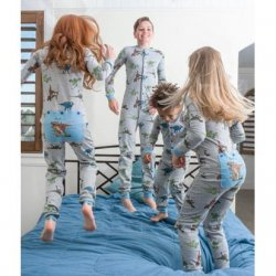 Kids Big Feet Pajamas Dinosaur Union Suit in Blue